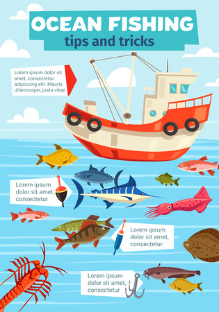 Fishery boat, ocean and sea fishing. Vector fisherman ship with net and big catch of marlin, flounder or carp and salmon fish with shrimp, squid and crab seafood