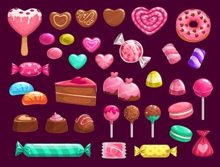 Dulces vector iconos de regalos de vacaciones de amor romántico. Pastel de chocolate, caramelos en forma de corazón, piruletas y gelatinas, malvaviscos, cupcakes y macarons, donas, helado y caramelo.