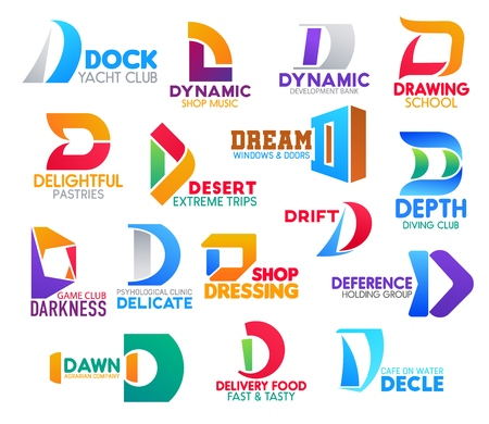 D icons, corporate identity symbols and company signs. Vector letter D font of yacht and diving sport club, music shop or development bank and extreme trips travel agency, cafe and clinic Ilustração