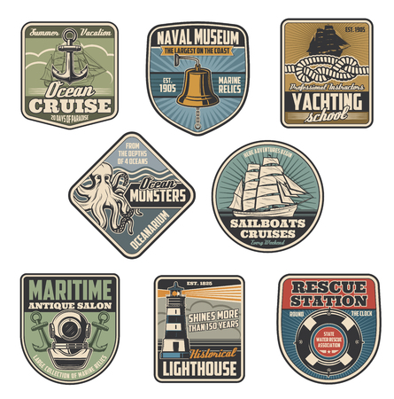 Marine icons and heraldic nautical symbols. Vector seafarer sailing badges of ship anchor, lifebuoy or lighthouse and diving aqualung with captain bell and ocean monster