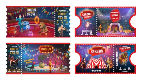 Circus show tickets vector design of carnival and amusement park admission card templates. Chapiteau top tent arena with trained animals, juggler and acrobats, magician, strongman and tamer Illusztráció