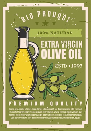 Olive oil, extra virgin natural cooking oil product. Vector premium quality bio olive oil poster with olives branch