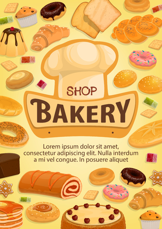 Bakery shop bread, desserts and pastry sweets. Vector baker hat, bagel or pretzel donut or cupcake and bun, sweet cheesecake or custards with flapjack and wheat or rye loaf bread Ilustrace