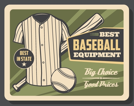 Baseball player outfit and game equipment store vintage retro poster. Vector baseball bat and ball, batter or catcher and umpire vest shirt Illustration