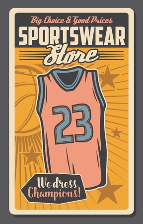 Basketball sportswear and sport equipment store. Vector vintage retro poster of basketball player shirt tank, ball and stars of champion