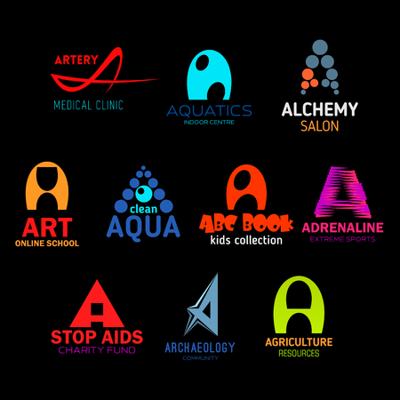 Letter A abstract icons for business. Artery and aquatic, alchemy and art, aqua and abc book, adrenaline and aids, archaeology and agriculture. Organization and enterprises symbols vector isolated Ilustrace