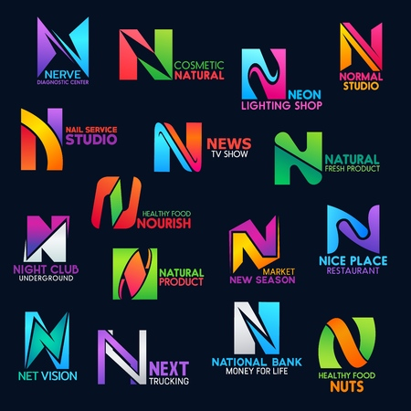 N icons of medical diagnostic center, natural cosmetic brand shop or nail service studio and news tv show. Corporate identity vector letter N symbols of restaurant, night club or lightning store