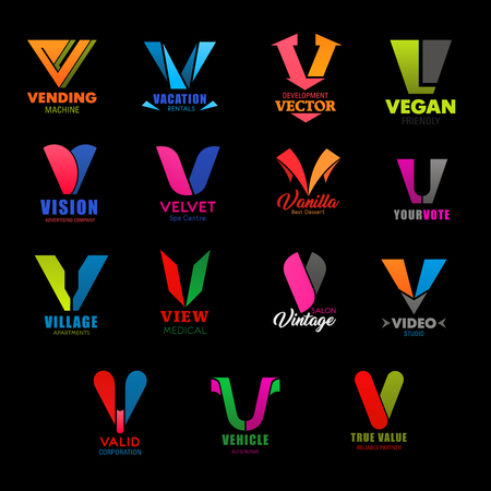 Letter V icons of company and brand business corporate identity. Vector V symbols of vending industry, vacation rental service or advertising company and spa center, medical clinic and video studio