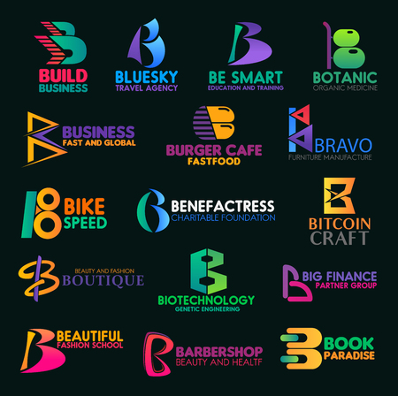 B icons and symbols of trade, engineering or food manufacture corporate identity. Vector letter B signs, building business company, travel agency or education center and medical clinic or barbershop Illustration