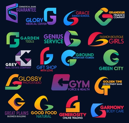G icons of finance company corporate identity, commercial bank and gym. Vector G symbols business building brand, gift shop or fashion boutique and medical center or online trade corporation