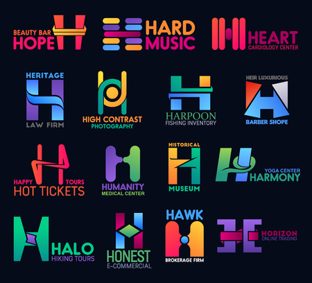 Corporate identity H icons, digital commerce and online trading company signs. Vector letter H business brokerage firm, yoga center and historical museum or barbershop and cardiology medical clinic