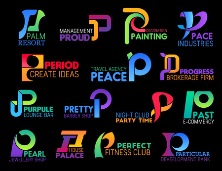 Letter P corporate identity icons of travel agency, barbershop or jewelry shop and gym or fitness club. Vector P symbols of development bank, night club or brokerage firm and management industry Ilustração