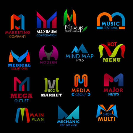 M letter icons for business. Marketing and maximum, makeup and music, medical and modern, mind map and menu, mega and market. Media and major, main and mechanic, multi badges vector isolated Illustration