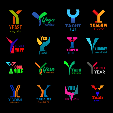 Letter Y icons and symbols corporate identity. Vector B signs of bakery shop, yoga sport center and yacht club, design studio or Asian food brand and landscaping company Yiddish art center
