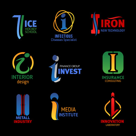Letter I icons of ice hockey sport school, infectious disease clinic and iron gym. Vector corporate identity I symbols of finance invest group, insurance consulting and metal industry Foto de archivo - 118167850