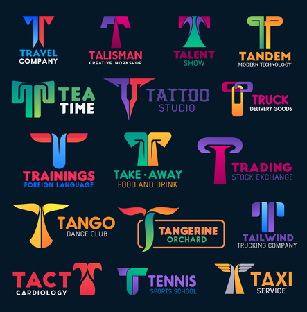 Corporate identity letter T icons, tattoo studio or trade stock exchange business company and taxi service sign. Vector T creative group, travel agency and delivery logistics or tennis sport club
