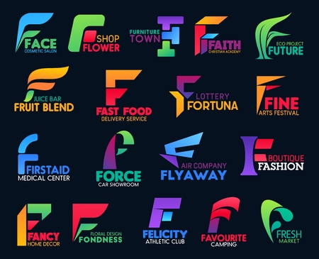 Fast food delivery service F icons, airline company letter sign and athletic gym or sport club. Fashion boutique, car showroom and medical center or floral design and eco project vector F symbols