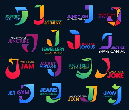 J icons corporate identity, travel tourism agency or comedy theater and gym club. Vector letter J symbols, business investment bank, dental clinic or luxury jewelry brand and holding company Illustration