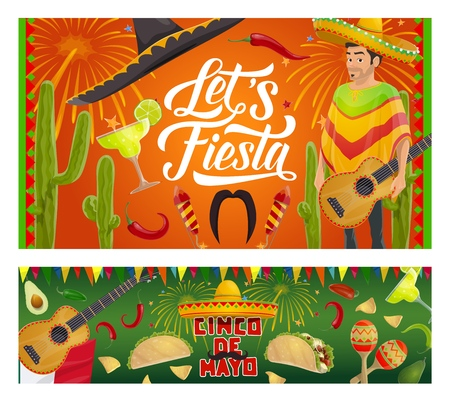Cinco de Mayo fiesta party vector invitations with Mexican guitars, sombrero and mariachi maracas. Latin American holiday tequila margarita, cactus and chilli, tacos, nachos and avocado with fireworks Çizim