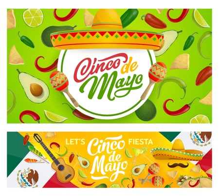 Cinco de Mayo holiday sombreros, guitar, maracas and moustaches vector design of Mexican fiesta party. Chilli, tequila margarita and tacos, nachos, avocado and lime, flag of Mexico and fireworks