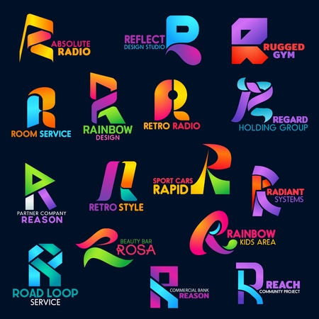 Letter R icons design studio, commercial bank or gym and radio. Beauty bar, road construction service or sport car technology and business holding or project company corporate identity vector R signs Stock Illustratie