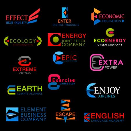 Los iconos de la letra E vector signos símbolos aislados. Efecto y entrada, economía, ecología, energía ecológica y extrema, épica y extra, tierra y ejercicio, disfrute, escape e íconos de fuentes creativas vectoriales en inglés
