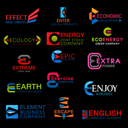 Icons on letter E vector signs symbols isolated. Effect and enter, economic, ecology, eco energy and extreme, epic and extra, earth and exercise, enjoy, escape and english vector creative font icons