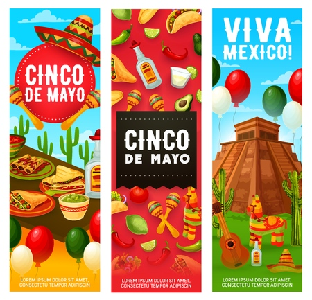 Cinco de Mayo Mexican holiday fiesta, Viva Mexico party banners with balloons. Vector Cinco de Mayo greetings with quesadilla, burrito and taco, avocado guacamole, tequila and fiesta pinata Illustration