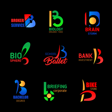 Letter B icons in service, finance and education. Vector corporate identity B symbols of broker agency, ballet dance school or bank investment industry and bachelor education school or university