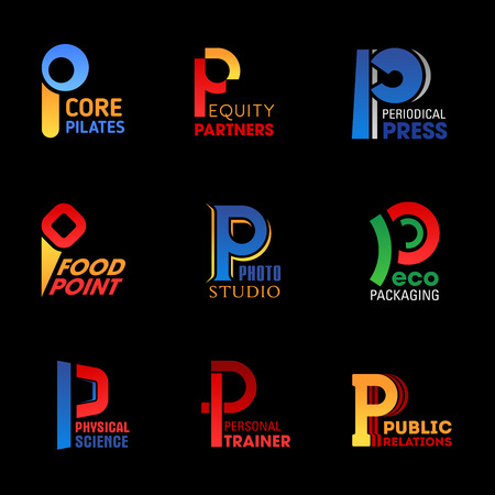 P letter icons of industry corporate identity and technology company or brand symbol. Vector P pilates fitness sport, equity partner group or periodical press media and food production or photo studio Illustration