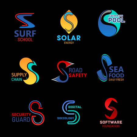 S letter business corporate identity icons and company brand symbols. Vector S of surf sport school, solar energy technology or swimming pool and road safety construction industry or seafood store