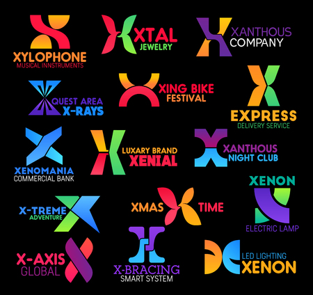 Letter X icons, corporate identity and business company signs. Vector X symbols of Xenon, Extreme or Express and X-ray or Xmas luxury brand names, sports and technology industry or service  イラスト・ベクター素材