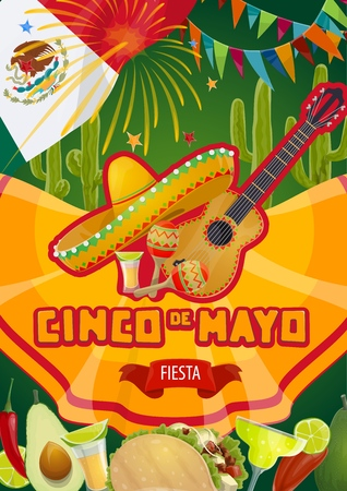 Cinco de Mayo Mexican fiesta celebration flags and fireworks. Vector Cinco de Mayo holiday party tequila with margarita cocktail, tacos and jalapeno chili pepper, Mexican sombrero, guitar and maracas