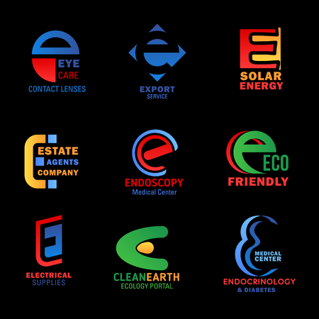 Letter E icons of corporate identity and business industry. Vector E signs of ophthalmology medicine, export logistics and delivery service, solar energy production and reals estate agency Illustration