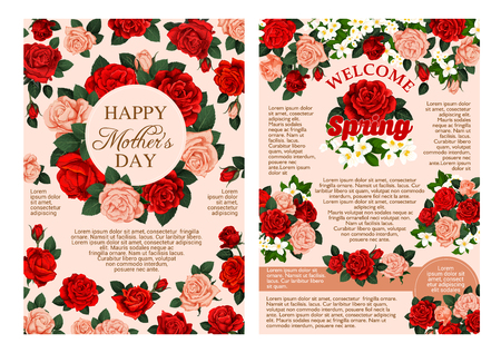 Mothers Day and Spring time season holiday greeting cards or posters of red flowers bunches. Vector blooming garden roses and flourish lily or crocus blossoms bunch fame retro design