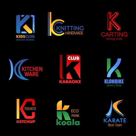 Letter K corporate identity icons and brand company symbols. Vector K creative kids club, handmade knitting shop, carting racing sport, kitchenware store and karaoke bar, jewelry shop and karate team