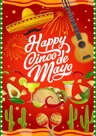 Mexican holiday Cinco de Mayo celebration poster. Vector Cinco de Mayo greetings calligraphy, Mexican sombrero with mustaches, guitar and maracas, tequila margarita and cactus, chili pepper and tacos