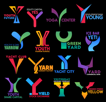 Corporate identity and brand or company name letter Y icons and signs. Vector Y of yacht sport club, creative design studio or commercial bank and yoga fitness center, business stock exchange market Illustration