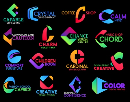 C icons of coffee shop or cafe sign, commercial bank and creative design studio. Vector corporate identity letter C symbols of beauty bar, digital printhouse and furniture store or cleaning service