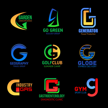 Letter G icons abstract modern design, business company or power technology and industry corporation. Vector Q symbols of garden landscape, travel agency and camp sport or gym club and medical clinic
