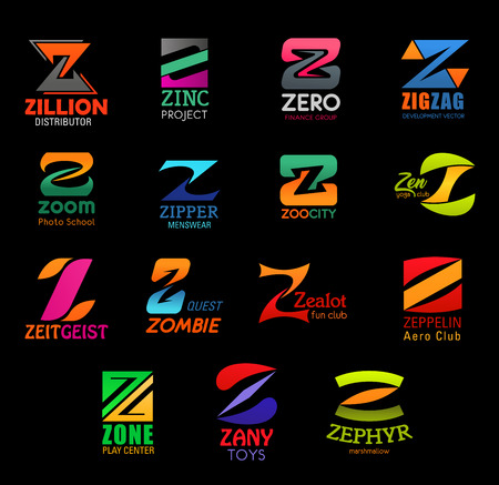 Business corporate identity, letter Z icons. Design and distribution, project and finance, development and education. Fashion and zoology, sport and entertainment, shopping and confectionary vector