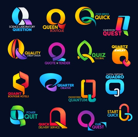 Letter Q font icons modern typography, business company and corporate identity. Science laboratory, fashion boutique or food service and bank finance industry vector Q abstract symbols Illustration