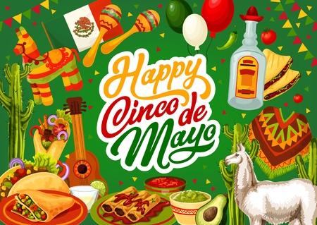 Feliz Cinco de Mayo, México celebración comida festiva y símbolos de fiesta sobre fondo mexicano. Vector de caligrafía de la fiesta del Cinco de Mayo, tequila con cactus y piñata, guacamole de aguacate y burrito