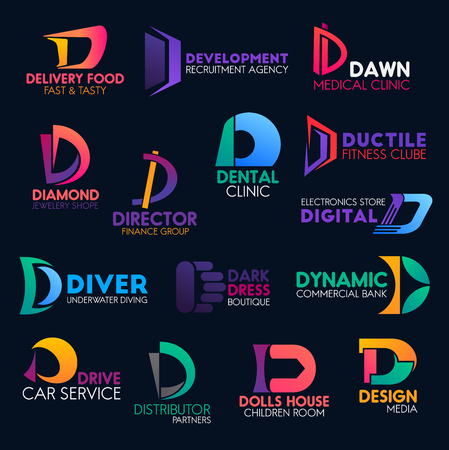 Letter D icons and business company corporate identity symbols. Vector D signs food delivery, recruitment agency or medical clinic and jewelry store, digital electronics store and media design studio