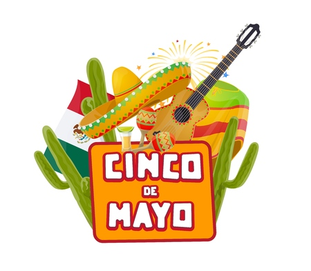 Cinco de Mayo Mexican party celebration fireworks and cactuses. Vector Mexico 5 May holiday or Cinco de Mayo fiesta tequila, sombrero hat and guitar with maracas and poncho in Mexican flag