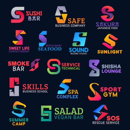 Letter S icons, Japanese sushi cuisine bar and vegan or seafood restaurant signs. Vector corporate identity S symbols shisha lounge club, sport gym or camp travel and spa salon or sound record studio Ilustração