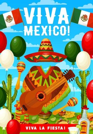 Vviva Mexico, Cinco de Mayo Mexican holiday greetings. Vector Mexican flag balloons, Cinco de Mayo fiesta tequila, cactus and avocado with sombrero, poncho and guitar or maracas, chili pepper and taco
