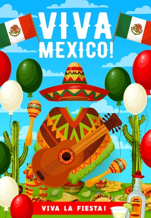 Vviva Mexico, Cinco de Mayo Mexican holiday greetings. Vector Mexican flag balloons, Cinco de Mayo fiesta tequila, cactus and avocado with sombrero, poncho and guitar or maracas, chili pepper and taco