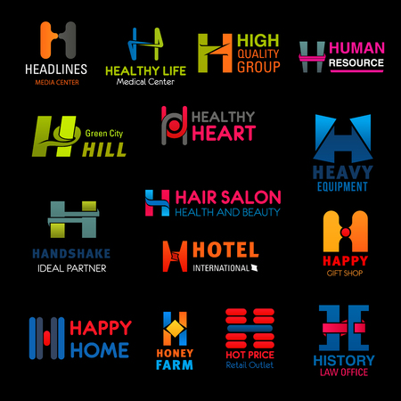 Letter H corporate identity business icons. Medical center, hair salon and law office, hotel, HR agency and beauty center, gift and heavy equipment shop, honey farm and ecology company vector emblems