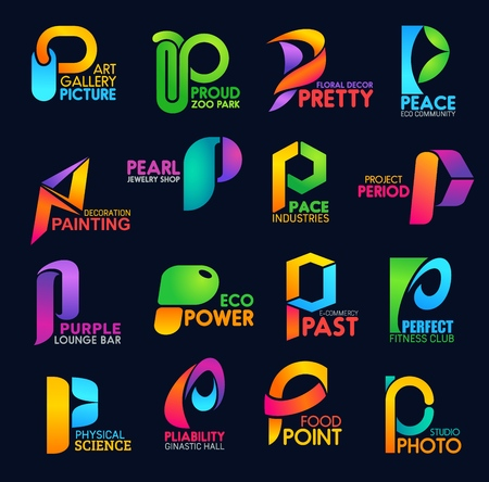 Corporate identity icons letter P business templates. Art and environment, decor and ecology, jewelry and shopping. Peace and power, sport and physical science, food and photo industries vector Banque d'images - 118167998